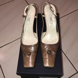 Prada taupe sling back leather heels.  Size 38/8.